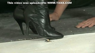 Smoking school girl high heels