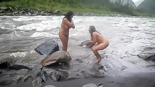 Indian Wife Naked River Bath