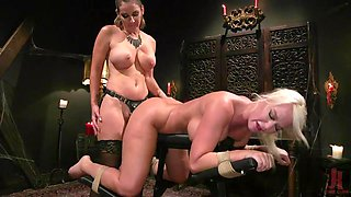pegging my lesbian friend's wet pussy with a huge strap-on
