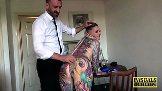 Fully tattooed subslut Piggy Mouth slammed by rough dom