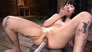 Fucking machine fucks wet and stretched cunt of suspended bitch Charlotte Sartre