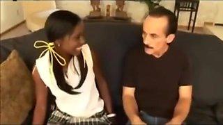 He streches her tiny black ass