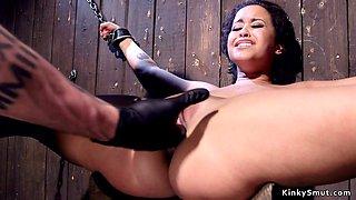 Hot slave takes panties through crotch