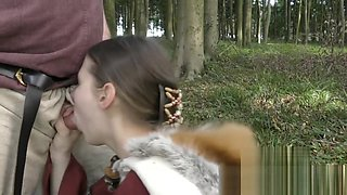 Kinky Viking slut Nadine Cays blows old guy with facial insemination