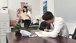Horny secretary in black lingerie Jenna J Ross rides her boss on top