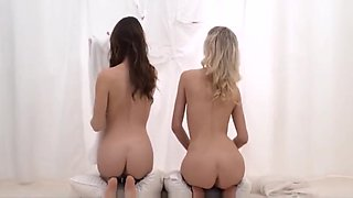 Two Cute Teen Mormon Sisters Share Cock Behind White Sheet